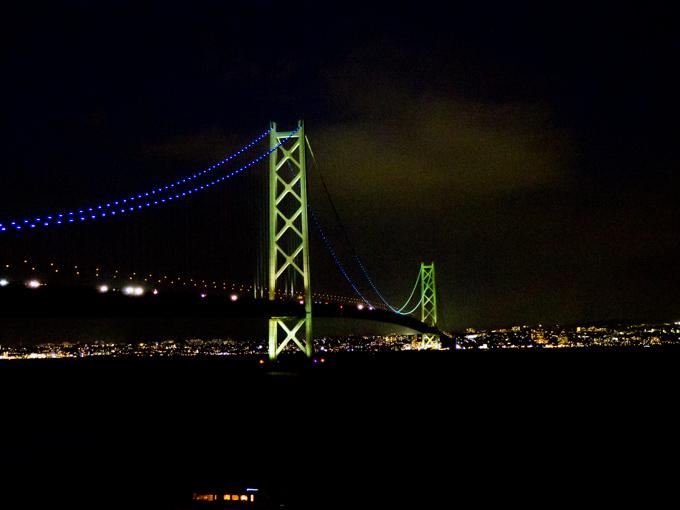 明石海峡大橋 ー ナイト&モーニング、手持ち夜景はやっぱり無理ですね。_1